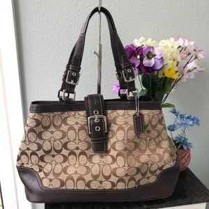 Coach Hampton F12643 Brown Signature Satchel